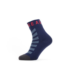 Sealskinz Waterproof Warm Weather Ankle Length Socks with Hydrostop navy blue/grey/red